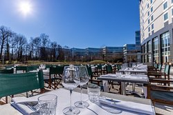 Enjoy the beautiful weather on our terrace, fit to welcome up to 200 guests.