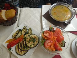 The soup, grilled aubergines and salad