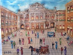 Dipinto su tela Catania antica (Piazza Teatro Massimo)