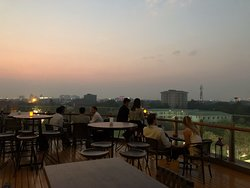 Watching sunset from bar