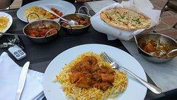 A Prawn Bhindi, Garlic Chilli Chicken and a Punjabi (I think)