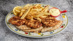 Chicken Burgers with fresh herbs & yogurt sauce.