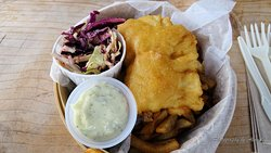 1 piece Halibut and chips with coleslaw