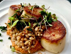 Pan seared Day-boat jumbo scallops, brown butter faro, hazelnut romanesco, micro greens. Make your dining room reservation and/or purchase your Penthouse Auditorium seat today at: