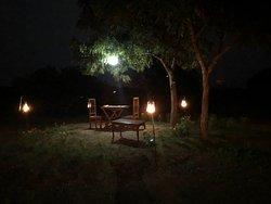 The lovely evening dinner setting