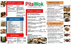 Menu de Pitas, wraps y comida al wok