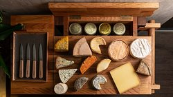 Our Wide and always changing selection of cheese on our custom made trolley.