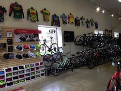 Come see our wall that tells our history of cycling jerseys worn by our mountain bike team, starting in 1990!