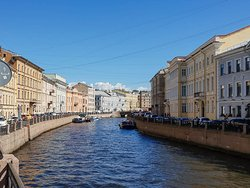 A picturesque view of Moyka river near the Winter Palace.