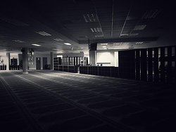 black and white mosque prayer hall photo
