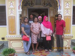 Our family in front of he court yard