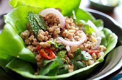 Chicken Laap , or fish or pork traditional Lao food .