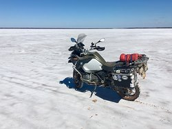 Motorcycle on the salt flats