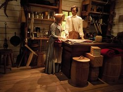 Exhibit depicting time Abraham Lincoln worked in a General Store in Salem, IL.