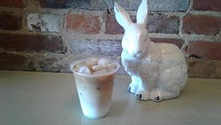 Iced lattes are available now, with many flavors to choose from!