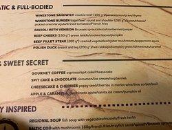Dessert portion of the menu