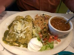steak enchiladas and great beans!