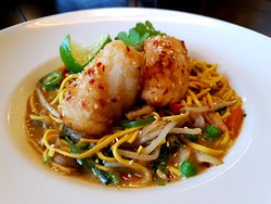 Salt & Chilli Monkfish in a Thai Green Curry Noodle Broth.. A tasty one-day-only special...