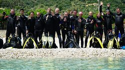 Our group that visited the diving center - having a great time.