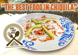 OLÉ OLÉ OLÉ CHILAQUILES  Tortilla chips soaked in red sauce, sour cream, cheese & avocado & fried beans