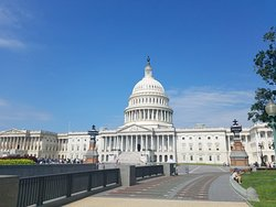 The tourists are already lining up at 9 AM. The United States Capitol building is worth viewing from all sides.