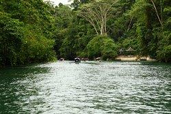 Melalui sungai menggunakan kapal.
