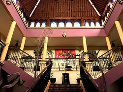 beautiful central staircase up to your rooms