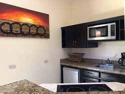 studio units have a kitchenette complete with two burner cooktop stove, microwave, refrigerator, coffee maker, sink and equipped to cook