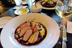 Duck with butternut squash risotto