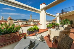 Panoramic view on Florence. Wine Bar Restaurant