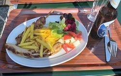 My selection - pork sausage, chicken sate/shishkebab and salad.