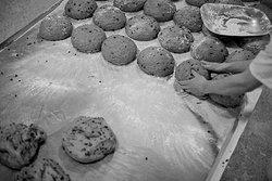 Kneading hot cross buns