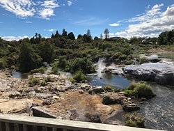 Thermal pool downstream from geysers