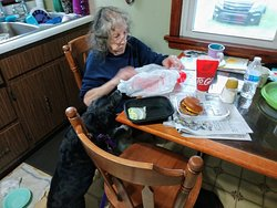 Great grandma Louise ready to eat her cheeseburger and fries
