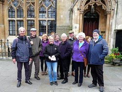 With friends outside the Chapter House main entrance.