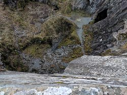 looking down the face of the cliff for the mega abseil
