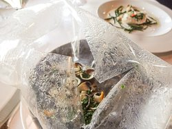 St Peter's fish with shellfish sack opened at the table to give us the aroma of the sea
