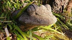 足元に石の蛙がいました