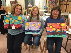 3 Generations of Love painting Starry Night!