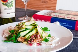 Shaved zucchini with pomegranate & walnut salad & herbed labne