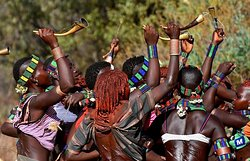 Hamer tribes women dancing bull jumping ceremony