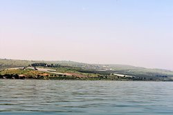 The view from the Sea of Galilee of where Jesus gave the Sermon on the Mount (Mount of Beatitudes)