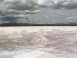 Salt being 'farmed' at Salar de Uyuni