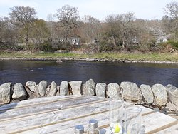 View from outdoor seating at the Fisherman's Bar at Port Na Craig, Pitlochry, Scotland