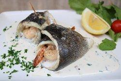 Spnott / Sea Bass Roulade with shrimp