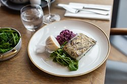Grilled fillet of halibut, winter cabbage slaw & mixed cress