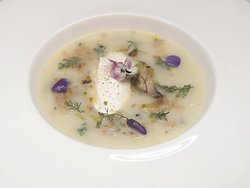 ''Potrida de Fenoci'' - Creamy broth of fennel, spring greens and nutmeg, goat cheese quenelle, fennel in breadcrumbs
