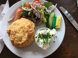 Fresh cheese scones and cream cheese and salad.