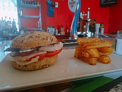 Our delicious menu is available every day Turkey BLT on a seeded bun served with triple cooked fries