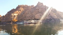 on the way to philae temple in Aswan, you will experience a motor boat ride in the Nile, as the temple located on island